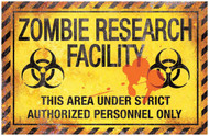 Metal Sign Zombie Research Fac