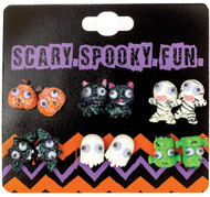 Earrings 6pk Studs W/googly Ey