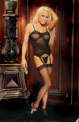 Bustier Fishnet Set Black - MO1431BKPL
