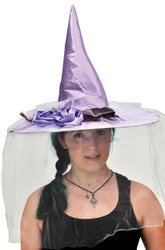 Witch Hat Purple Satin W Feath