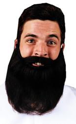 Mustache Beard Black 8in