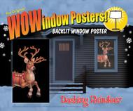 Dashing Reindeer Window