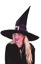 Witch Hat Blk Pleated Velour