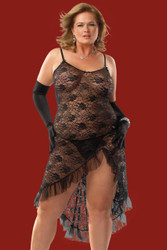 Gown W G String Blk Plus