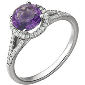 Amethyst and Diamond Halo Style Ring - Front