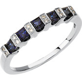 Blue Sapphire and Diamond Anniversary Band