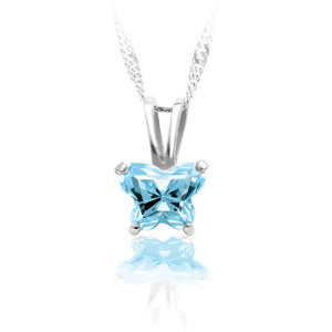 March birthstone bfly cz butterfly sterling silver pendant necklace march birthstone necklace mozeypictures Choice Image