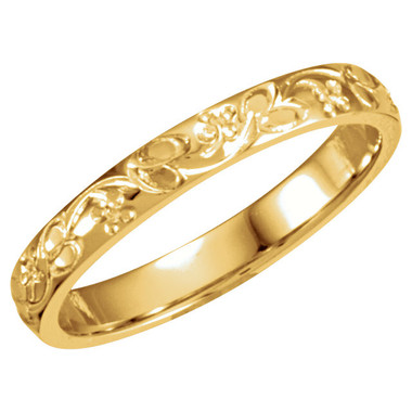 14kt Yellow Gold Hand Engraved Floral Design Wedding Band Diamonds