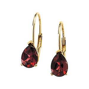 Garnet Leverback Earrings