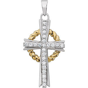 Sterling silver grace cross pendant with cubic zirconia gold grace cross pendant aloadofball Image collections