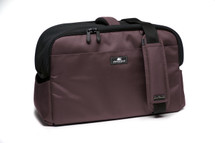 Chocolate Brown Sleepypod Atom Airline Approved Pet Carrier features adjustable shoulder straps for shoulder carry and a built-in handle for hand carry.