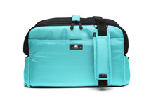 Robin Egg Blue Sleepypod Atom Airline Approved Pet Carrier can be affixed to your car seat via your seat belt