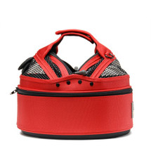 Strawberry Red Sleepypod Mini Airline Approved Pet Carrier, Car Safety Seat, Bed allows you to partially open the dome so you pet can stick its head out
