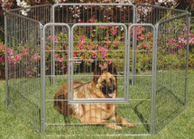 Portable Indoor/Outdoor Kennel Exercise Pen Dog Run assembled in a more circular design