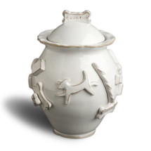 French White Ceramic Stoneware Dog Treat Jar