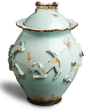 Baby Blue Ceramic Stoneware Dog Treat Jar showing down dog and treat decorations