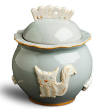 French Grey Ceramic Stoneware Cat Treat Jar
