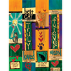 Vibrant colors adorn all the lovely artwork and it's laminated to protect it from the elements.