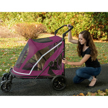 Boysenberry No-Zip Expedition Pet Stroller's rear door opens with a push of a button