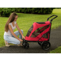 Candy Red No-Zip Excursion Pet Stroller opens at the front and the back