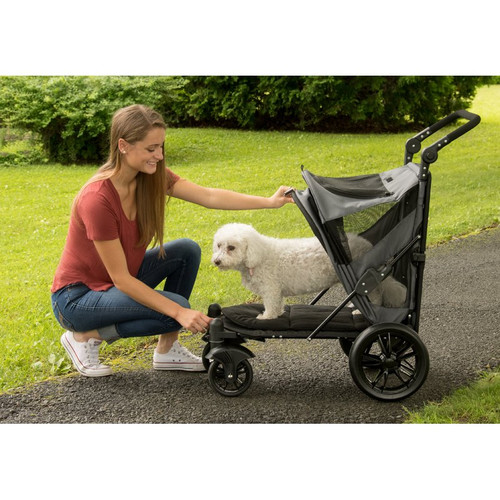 Dark Platinum No-Zip Excursion Pet Stroller opens from the front and the back for easy entry and exit