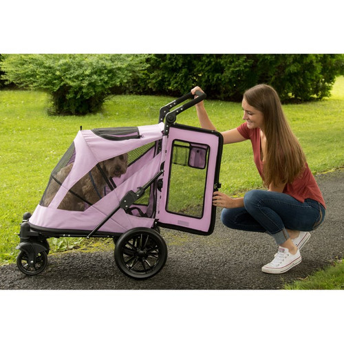 Mountain Lilac No-Zip Excursion Pet Stroller has a large entry door in the rear of the stroller