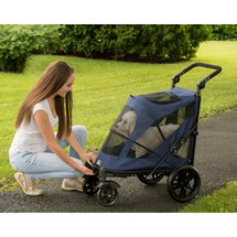 Midnight Blue No-Zip Excursion Pet Stroller features front and rear door openings without zippers