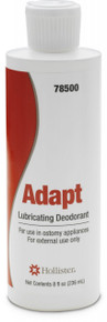 Hollister Adapt Lubricating Deodorant 8 ounce bottle is designed for use in colostomy and ileostomy pouches.  It will deodorize stool and lubricate the pouch insides so that contents will not stick and allow for easy emptying of an ostomy pouch.