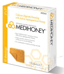 "Medihoney® Calcium Alginate Dressing with Manuka or Leptospermum Honey 4"" x 5"", Occlusive"