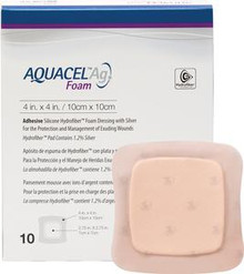 "ConvaTec AQUACEL® Ag Foam Adhesive Dressing 4"" x 4"", with 2.75"" x 2.75"" Pad"