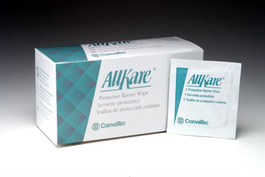 ConvaTec AllKare Protective Barrier Wipes 100 per box.  Reference number 37444, the AllKare Barrier Wipes provided a transparent breathable and protective barrier over the skin to eliminate damage from adhesives, fecal matter, and friction.