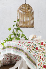 Modern Bohemian Tablecloth -  block printed (180 x 275 cm)