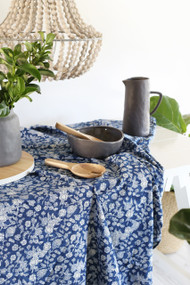 Indigo Floral Tablecloth (150x220cm)