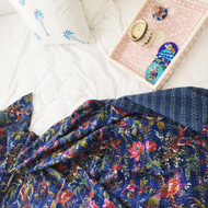 Blue Birds of Paradise Kantha quilt