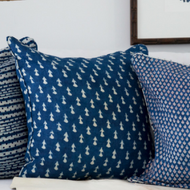 Indigo Little Fish Linen Cushion Cover
