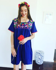 Blue Boho Embroidered Dress