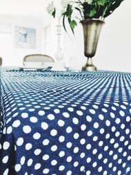Indigo Dotty Tablecloth (180 X 275 cm)