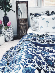 Indigo Roses Quilt Cover - Queen size Sold out