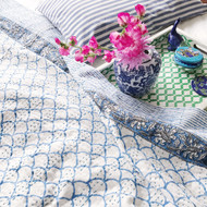 Blue Fish Scales  Kantha Quilt