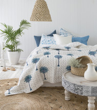 Blue Boho Polka Dot Palm Trees Kantha Quilt