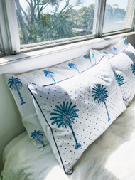 Boho Blue Polka Dot Palm Trees Pillow Case