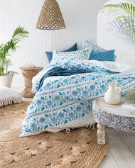 Blue Boho Hamptons Quilt Cover -Queen Size(210x210cm)