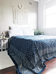 Indigo leaves kantha quilt