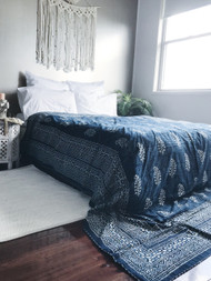 Indigo Paisleys Kantha Quilt - sold out