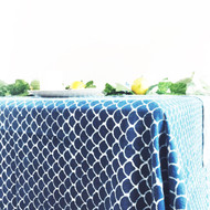 Indigo Fish Scales Hamptons Square Tablecloth