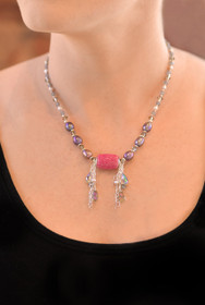 Stingray Leather Necklace - Pink