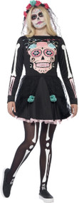 Teen Girls Sugar Skull Fancy Dress Costume
