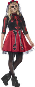 Teen Girls Red Skeleton Fancy Dress Costume