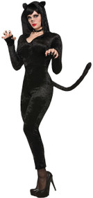 Ladies Black Cat-Suit Fancy Dress Costume