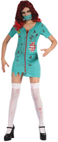 Ladies Zombie Surgeon Fancy Dress Costume